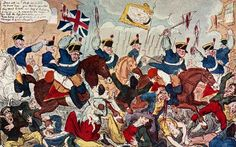 """The Massacre of Peterloo, 1819: """"Down with 'em! Chop em down my brave boys: give them no quarter they want to take our Beef & Pudding from us! ---- & remember the more you kill the less poor rates you'll have to pay so go at it Lads show your courage & your Loyalty"""""""