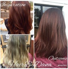 Transformed from bleach-blonde balayage to rich auburn using Redken Shades EQ. Hair design by Dana