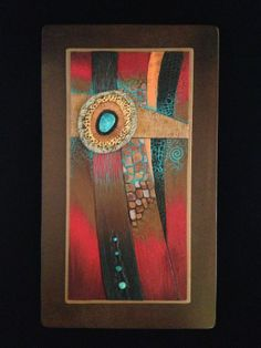 Wall hanging, polymer clay with turquoise  by Karen Brueggemann