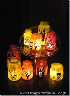 Farolitos para hacer con los mas pequeños y decorar la casa para Halloween. http://familias-naturales.blogspot.com/2014/10/faroles-para-halloween.html
