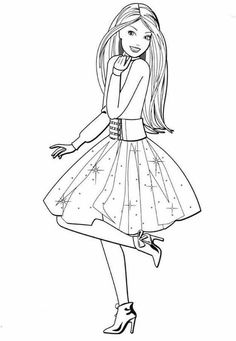 Free Kids Coloring Pages, Barbie Coloring Pages, Printable Adult Coloring Pages, Coloring Book Pages, Disney Coloring Pages, Coloring Pages For Kids, Barbie Colouring, Barbie Painting, Barbie Drawing