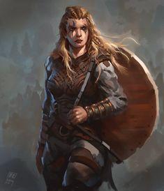 Female Viking Warrior 1, Raph Lomotan on ArtStation at https://www.artstation.com/artwork/female-viking-warrior-1