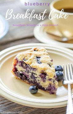 """Blueberry Breakfast Cake – perfect for breakfast, brunch or a light dessert. This luscious cake is a deliciously moist, lightly sweet """"coffee"""" cake bursting with juicy ripe blueberries and a hint of lemon. Blueberry Crumble Pie, Blueberry Breakfast, Blueberry Cake, Blueberry Recipes, Breakfast Cake, Pumpkin Breakfast, Brunch Cake, Cake Recipes, Dessert Recipes"""