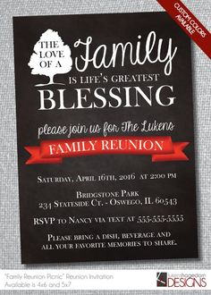 Family Reunion Chalkboard Invitation-Digital File-Custom Colors by LukensHagedornDesign on Etsy Family Reunion Decorations, Family Reunion Themes, Family Reunion Invitations, Picnic Decorations, Family Reunions, Etsy Christmas, Family Christmas, Family Thanksgiving, Chalkboard Invitation