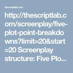 http://thescriptlab.com/screenplay/five-plot-point-breakdowns?limit=20&start=20  Screenplay structure: Five Plot Point Breakdowns