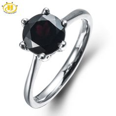Hutang 2016 Mystery Natural Black Garnet Ring Solid 925 Sterling Silver For Women Fine Jewelry Round 8mm Gemstone wedding gift