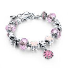 2016 antiguos 925 encanto rosa de plata pulseras y brazaletes con amor y los granos cristalinos de Rose para los regalos de la mujer SBR160038(China (Mainland))