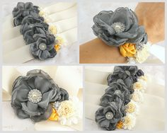 ... Of wrist corsage idea.  Grey and plum chiffon and satin. Like this idea ! Slate gray and a blue or purple ! Depending wat Amanda choices