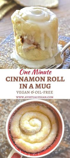 If you have a mug, a microwave & a spoon you can make this One minute Cinnamon Roll in a Mug. Perfect for when you NEED dessert now! via A Virtual Vegan kuchen ostern rezepte torten cakes desserts recipes baking baking baking Vegan Sweets, Healthy Desserts, Just Desserts, Delicious Desserts, Yummy Food, Healthy Recipes, Single Serve Desserts, 5 Minute Desserts, Paleo Dessert