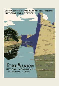 FLORIDA Travel Poster Vintage Fort Marion by EncorePrintSociety