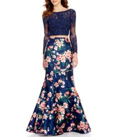 b79c31f8c0 Ellie Wilde Embellished Illusion Lace To Floral Open-Back Two-Piece Mermaid  Dress