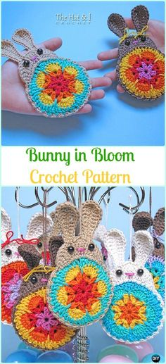 Crochet Bunny in Bloom Appliqué‏ Paid Pattern-Crochet Bunny Applique Patterns