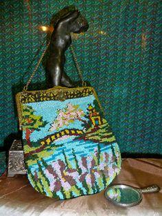 VINTAGE 1920s BEADED velvet BAG