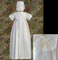 Shantung Christening Gown for Infant Boys w/ Embroidered Cross Bib