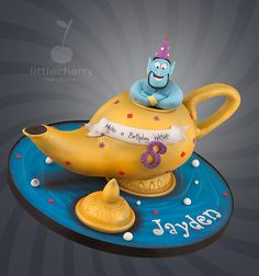 Terrific Genie Birthday Cake was made by Little Cherry Cake Company Aladdin Cake, Aladdin Party, Fondant Cakes, Cupcake Cakes, 3d Cakes, Beautiful Cakes, Amazing Cakes, Shes My Cherry Pie, 17 Birthday Cake