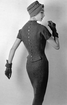 "Nina Ricci, 1955 All I hear in my head is ""The backwards man, the backwards man, I can walk backwards fast as you can"" LOL"