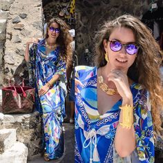 A touch of #blue , #purple & #gold 🐬✨ tap for details #lovefashiongr #fashionblogger #greekblogger #myfashioneyes #scapeswear #santorini #oldport #travel