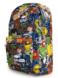 """""""Star Wars Cartoon Multi Character"""" Backpack by Loungefly (Multi)"""