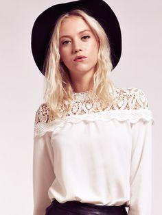 Dahlia Clare Lace Shoulder Blouse with Button Back | Dahlia