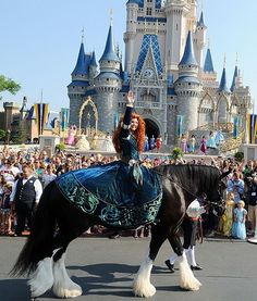 Merida rides in the Mothers Day festivities on her gorgeous horse, Angus, at the Walt Disney World Resort in Florida.