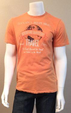Men's Banana Republic Orange Graphic Short Sleeve Tee Shirt Size L | eBay