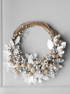 white wreath with jingle bells   horchow