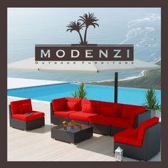 MODENZI DELUXE 7G ALL Weather Modern Outdoor PE Wicker Sofa Patio Furniture Set