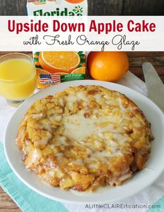 Easy Upside Down Cinnamon Apple Cake with Orange Glaze - perfect for weekend breakfasts!
