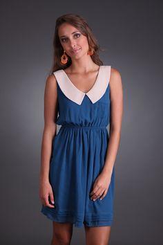 #Sugar and #Spice #Collared #Dress only $28.99 #sophieandtrey #style #madmen #60sinspired #workattire #blue #collar #summer #fall #appropriate #dinnerdate