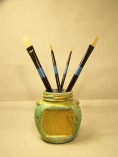 Faux Grecian Urn (Paint Brush Holder) Upcycled Glass Fruit Jar