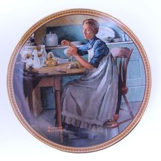 "Norman Rockwell Knowles Plate ""Working in the Kitchen"""