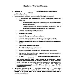 Exceptional Child Care Employee Contract Printable Nice Look