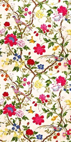 Floral design with birds Textile Prints, Textile Patterns, Flower Patterns, Print Patterns, Textiles, Fabric Wallpaper, Pattern Wallpaper, Wallpaper Backgrounds, Wallpapers