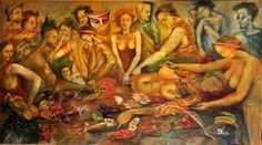 size;69x124cm oil on canvas  Live dinner...