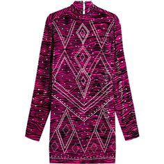Just Cavalli Embellished Animal Print Velvet Dress (1 432 AUD) ❤ liked on Polyvore featuring dresses, pink, purple velvet dress, long sleeve dress, pink shift dress, purple dress and pink velvet dress