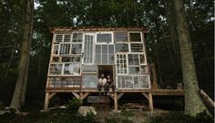 home made of old windows // Nick Olson and Lilah Horwitz in the mountains of West Virginia.