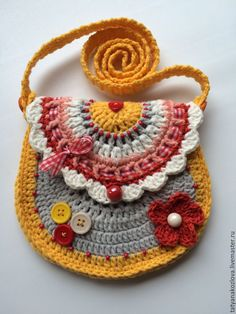 Купить Сумочка-кошелек детская вязаная Желтая - желтый, абстрактный, сумочка ручной работы