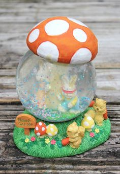 Vintage Retro Easter Bunny Snowglobe, Orange Mushroom Snowglobe Easter Decorations