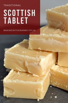 Scottish Tablet recipe from Baking with Granny. Real old fashioned tablet from Scotland. Milk Recipes, Fudge Recipes, Candy Recipes, Sweet Recipes, Baking Recipes, Cookie Recipes, Dessert Recipes, Desserts, Irish Recipes