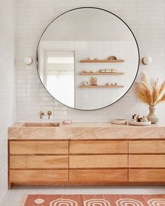 New Bathroom Lighting Design Color Palettes Ideas Bathroom Goals, Bathroom Colors, Neutral Bathroom, Decoracion Low Cost, Bathroom Lighting Design, Pink Mirror, Wood Vanity, Round Mirrors, Round Bathroom Mirror