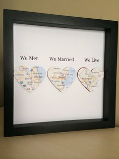 Personalized Anniversary or Wedding Gift, 3D Paper Location Heart, for wedding, anniversary or Valentine's Day