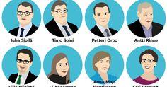 Puoluejohtajat - illustration @Stina Tuominen