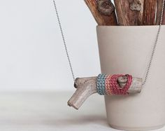 Wooden necklace decorated with crochet. Grey pink & punch. Tribal syle jewelry. Wood Natural Necklace. Eco friendly jewelry. Wooden Jewelry.