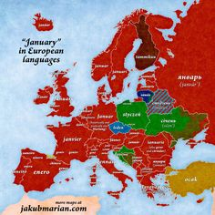 """""""January"""" in European languages."""