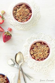 Honey-kissed-strawberry-rhubarb crumbles by Kitchen Heals Soul, via Flickr