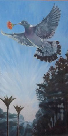 Peace, Native Kereru with Pohutakawa flower Acrylic on canvas