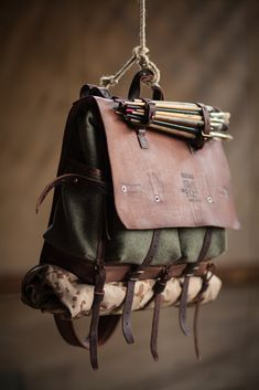 Wool and leather messenger - Messer