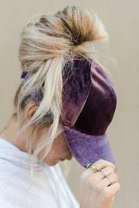 Velvet baseball cap with messy bun hole and adjustable closure. Braids with hat Bohemian Hats And Accessories Urban Hairstyles, Prom Hairstyles For Short Hair, Side Braid Hairstyles, Short Hair Updo, Trending Hairstyles, Braids For Long Hair, Curly Hair Styles, Cool Hairstyles, Pigtail Hairstyles