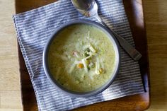 broccoli cheddar soup - smitten kitchen, lots of broc and less cheese
