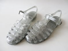 Glittering Silver Jelly Sandals Summer Rain Shoes Transparent Shoes Sparkle Jelly Shoes Boho Hippie Beach Slingback Size UK 4 EUR 37 US 6.5 by VintageDreamBox on Etsy